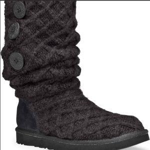 👢 UGG Tall Black Cardy Lattice Knit Boot 7